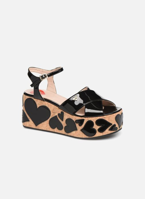 Sandals Love Moschino Heart Patchwork Sandal Black detailed view/ Pair view