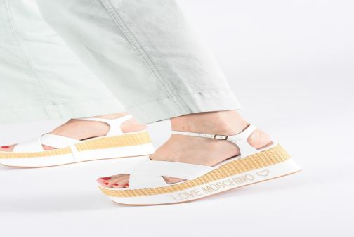 Sandals Love Moschino Feminine Studs Sandal White view from underneath / model view