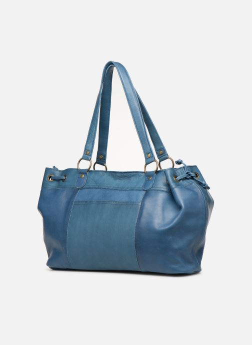 Handbags Pieces BETH LEATHER BAG Blue view from the right