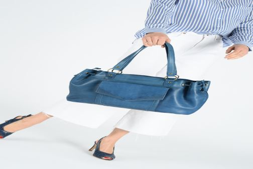 Handbags Pieces BETH LEATHER BAG Blue view from above