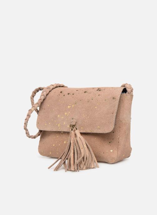 Handbags Pieces BRANDY SUEDE CROSSBODY Bronze and Gold model view