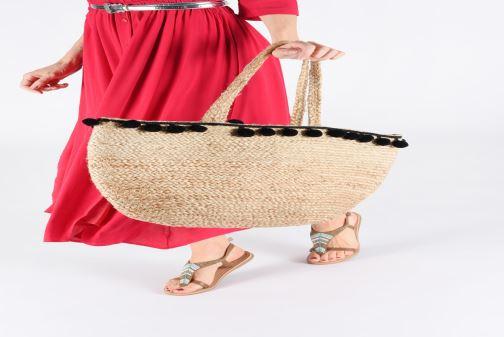 Handtaschen Pieces BECKA STRAW BAG beige ansicht von unten / tasche getragen