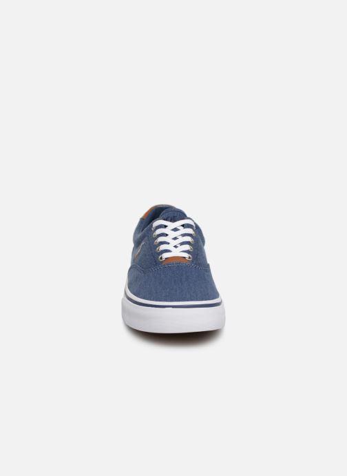 Baskets Polo Ralph Lauren Thorton Sneaker -Vulc - Washed Twill Bleu vue portées chaussures