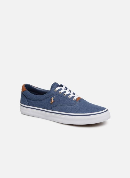 Baskets Polo Ralph Lauren Thorton Sneaker -Vulc - Washed Twill Bleu vue détail/paire
