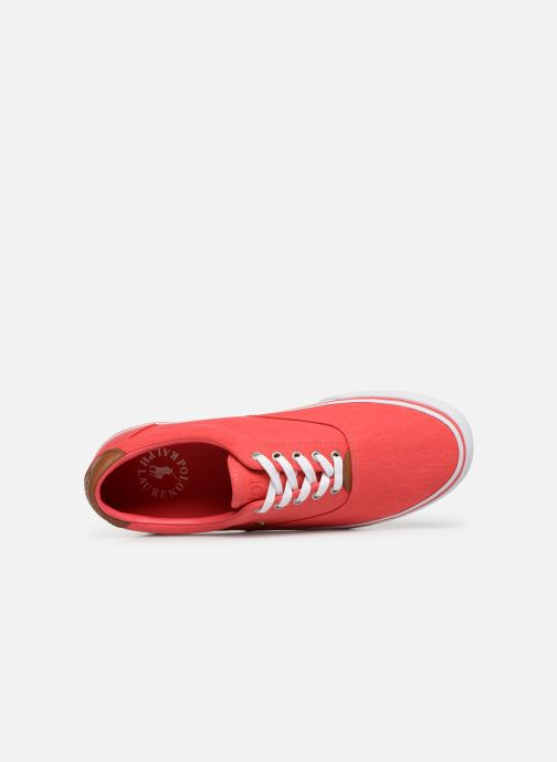 Deportivas Polo Ralph Lauren Thorton Sneaker -Vulc - Washed Twill Rojo vista lateral izquierda