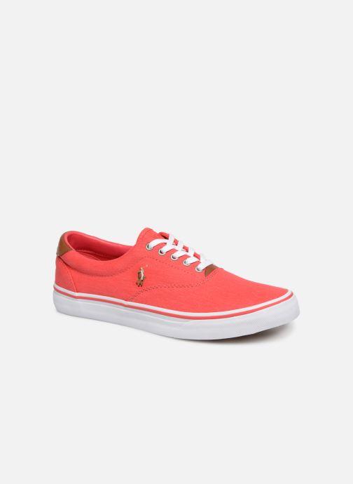 Baskets Polo Ralph Lauren Thorton Sneaker -Vulc - Washed Twill Rouge vue détail/paire