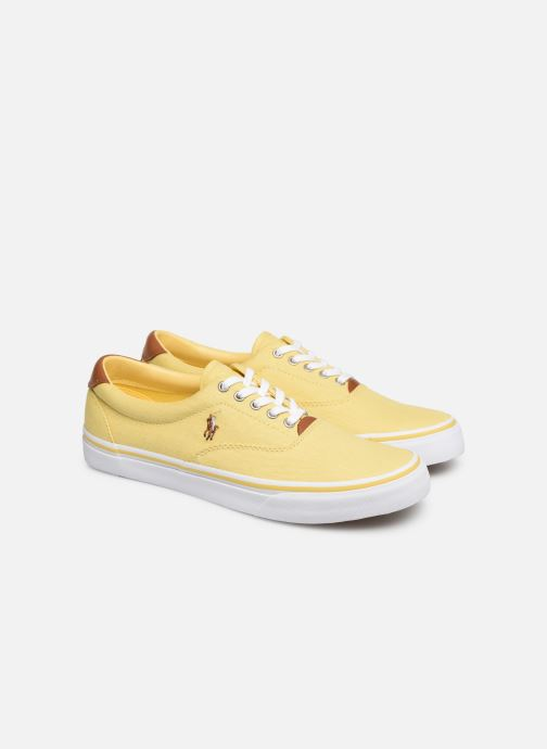 Baskets Polo Ralph Lauren Thorton Sneaker -Vulc - Washed Twill Jaune vue 3/4