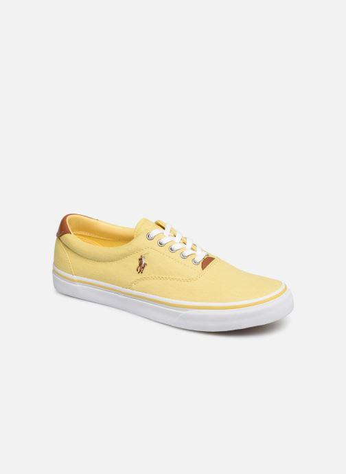 Baskets Polo Ralph Lauren Thorton Sneaker -Vulc - Washed Twill Jaune vue détail/paire
