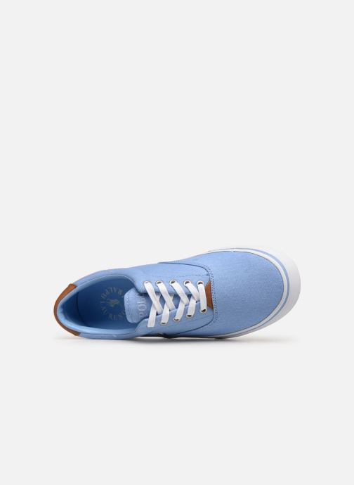 Baskets Polo Ralph Lauren Thorton Sneaker -Vulc - Washed Twill Bleu vue gauche