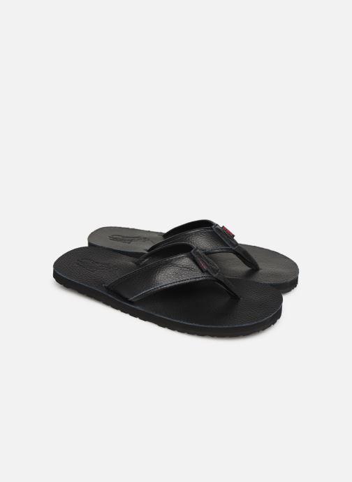 Flip flops Polo Ralph Lauren Sullivan III Tumbled Leather Black 3/4 view
