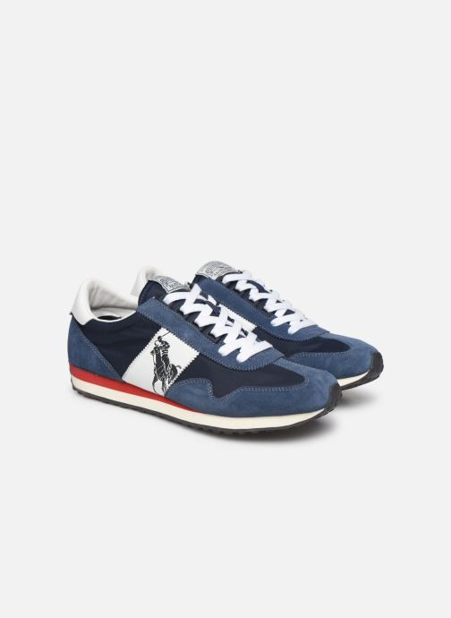 Baskets Polo Ralph Lauren Train 90 -PP Suede Bleu vue 3/4
