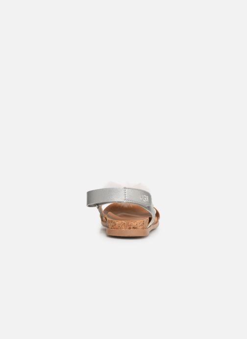 Sandales et nu-pieds UGG Fonda Glitter Pom K Argent vue droite