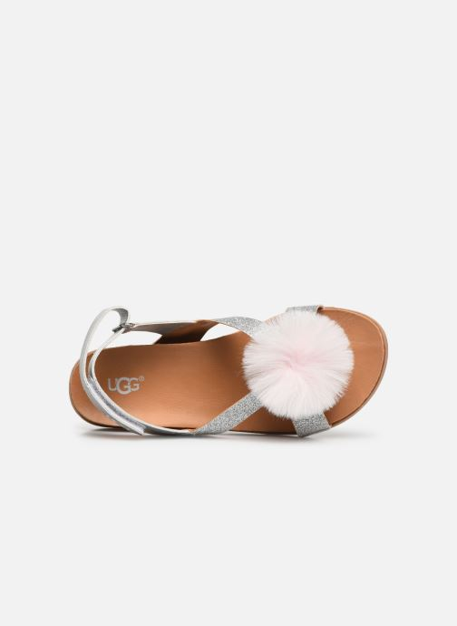 Sandals UGG Fonda Glitter Pom K Silver view from the left