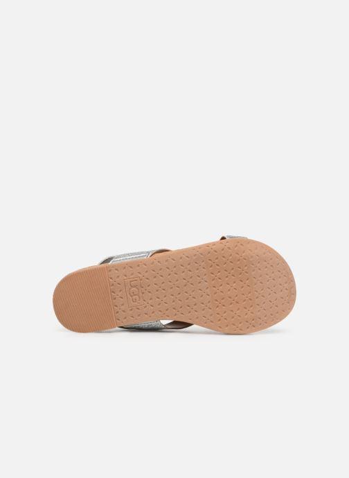 Sandales et nu-pieds UGG Fonda Glitter Pom K Argent vue haut