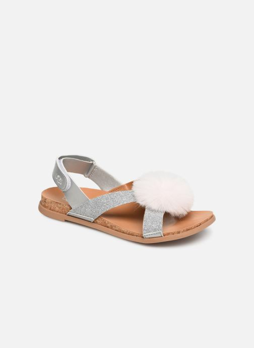Sandales et nu-pieds UGG Fonda Glitter Pom K Argent vue détail/paire