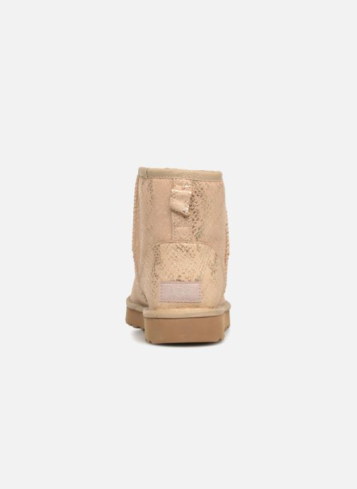 Bottines et boots UGG Classic Mini Metallic Snake Or et bronze vue droite