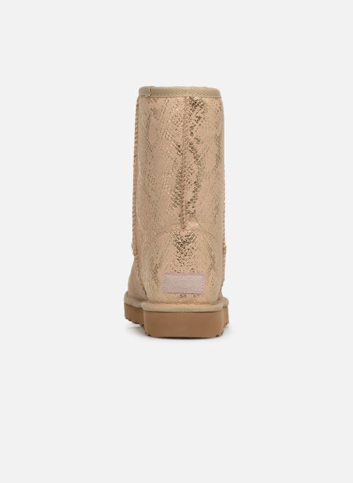 Støvler & gummistøvler UGG Classic Short Metallic Snake Guld og bronze Se fra højre