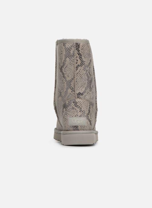 Botas UGG Classic Short Metallic Snake Gris vista lateral derecha