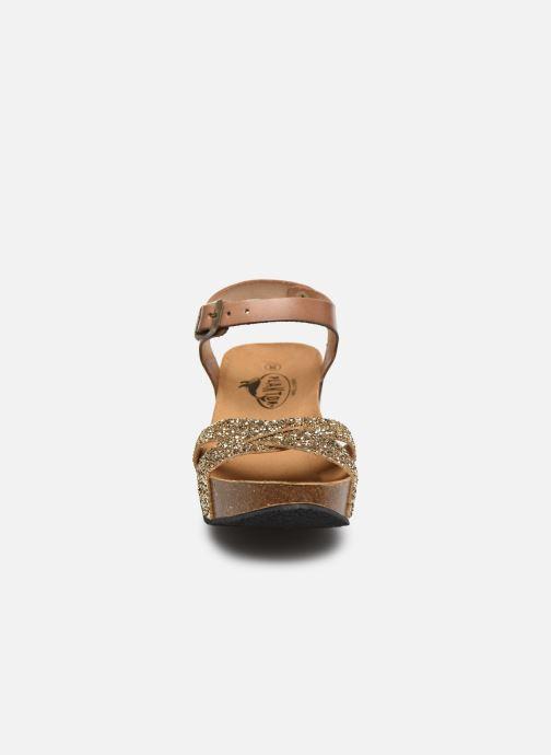 Sandalias Plakton So Final Oro y bronce vista del modelo
