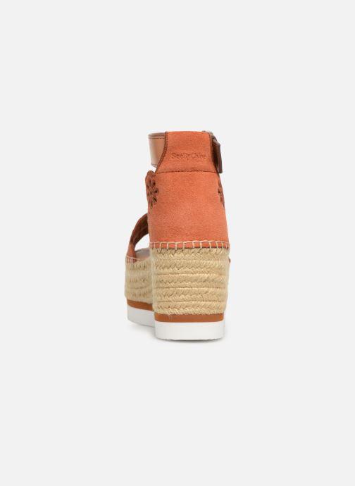 Sandales et nu-pieds See by Chloé Glyn Platform Espadrille Orange vue droite