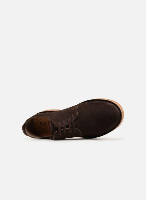 Chaussures à lacets Selected Homme SLHROYCE DERBY LIGHT SUEDE SHOE W Marron vue gauche