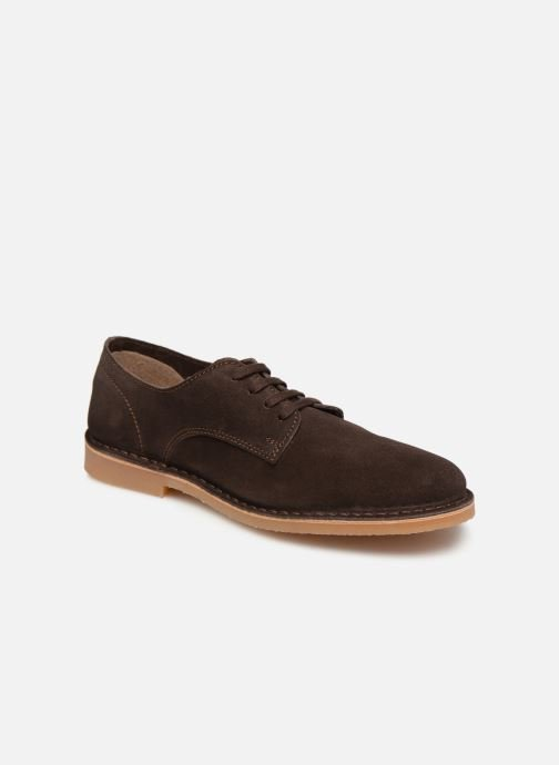 Snøresko Selected Homme SLHROYCE DERBY LIGHT SUEDE SHOE W Brun detaljeret billede af skoene