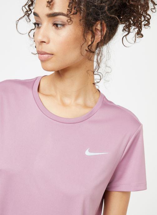 Kleding Nike W Nike Miler Top Short-Sleeve Roze voorkant