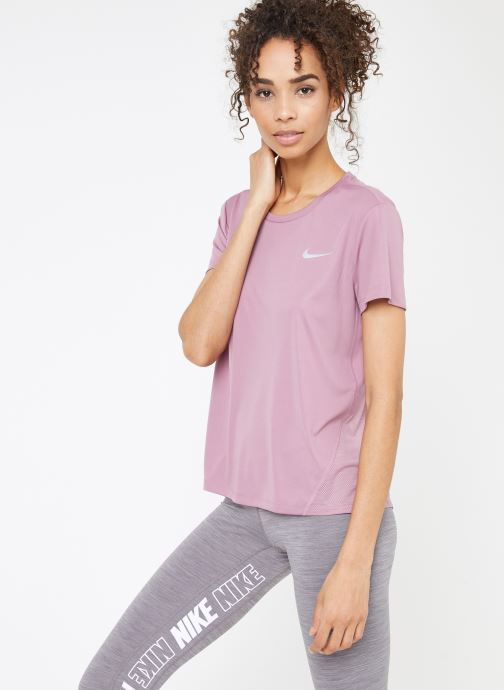 Kleding Nike W Nike Miler Top Short-Sleeve Roze rechts