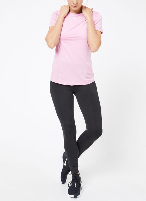 Ropa Nike W  Nike Pro Top Short-Sleeve All Over Mesh Rosa vista de abajo