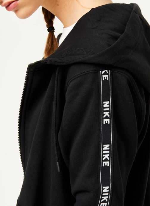 Kleding Nike W Nike Sportwear Hoodie Full Zip Logo Tape Zwart voorkant