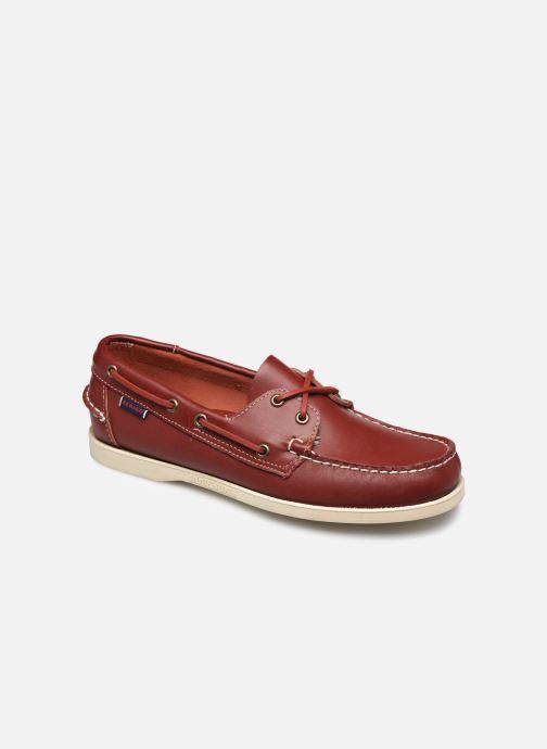 Chaussures à lacets Sebago Docksides Portland Rouge vue détail/paire