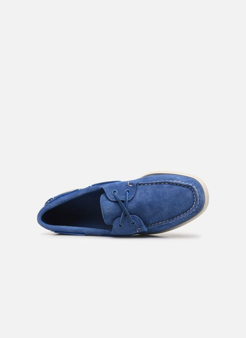 Lace-up shoes Sebago Docksides Portland Suede Blue view from the left