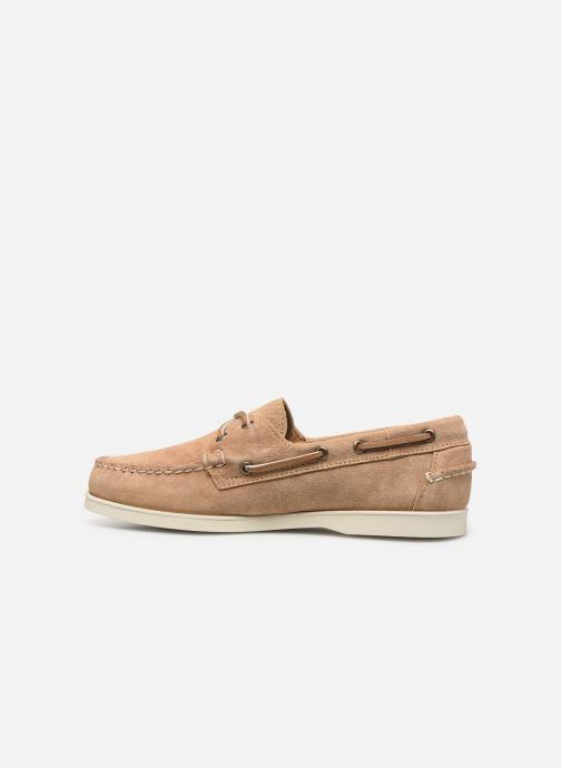 Zapatos con cordones Sebago Portland Docksides Suede Beige vista de frente