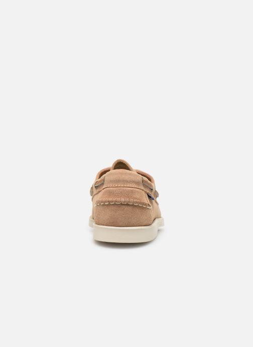 Zapatos con cordones Sebago Portland Docksides Suede Beige vista lateral derecha
