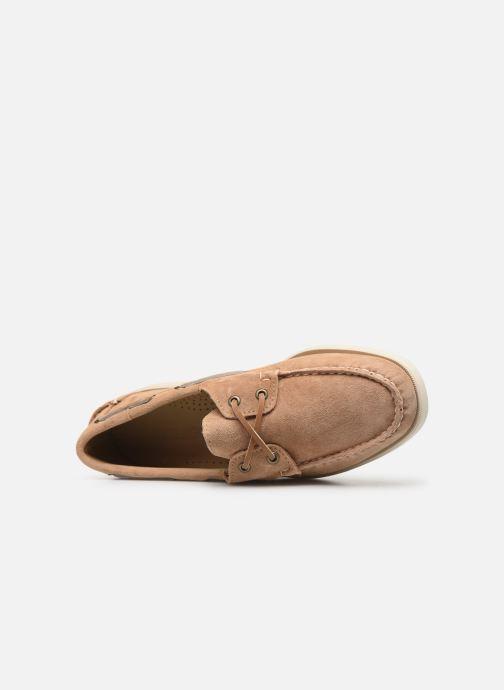 Zapatos con cordones Sebago Portland Docksides Suede Beige vista lateral izquierda