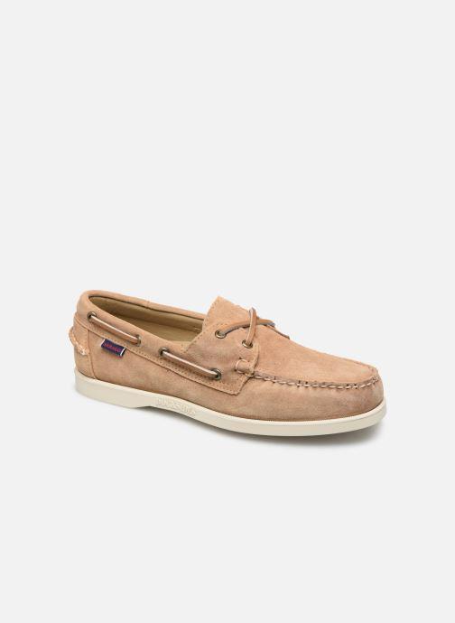 Zapatos con cordones Sebago Portland Docksides Suede Beige vista de detalle / par