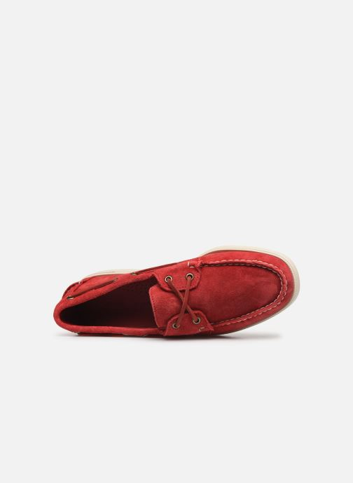 Zapatos con cordones Sebago Portland Docksides Suede Rojo vista lateral izquierda