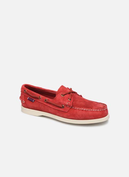 Zapatos con cordones Sebago Portland Docksides Suede Rojo vista de detalle / par