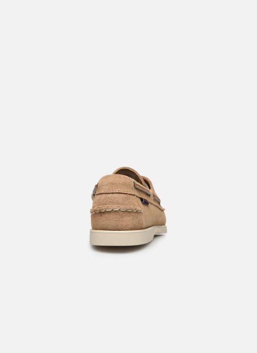 Chaussures à lacets Sebago Portland Docksides Suede Beige vue droite