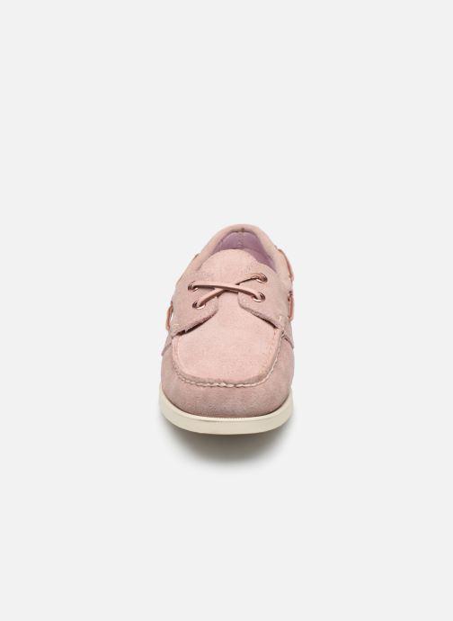 Chaussures à lacets Sebago Docksides Portland Suede W Rose vue portées chaussures