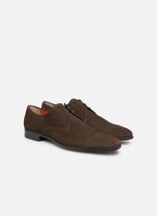 Lace-up shoes Santoni William 12381 Nubuck Brown 3/4 view