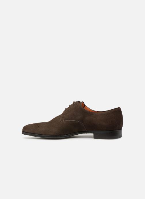Lace-up shoes Santoni William 12381 Nubuck Brown front view