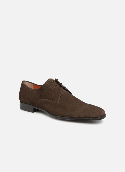 Chaussures à lacets Santoni William 12381 Nubuck Marron vue détail/paire