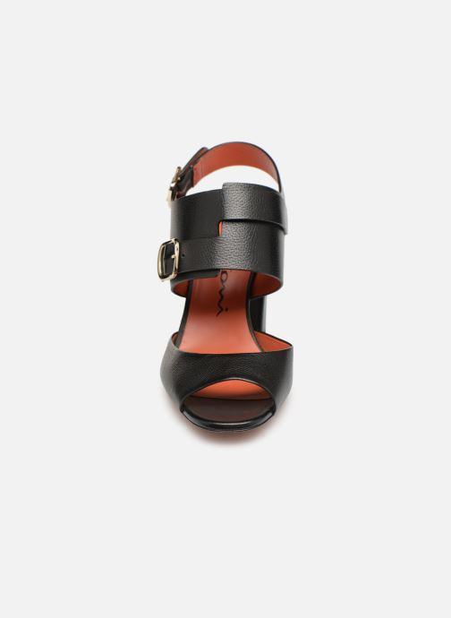 Sandales et nu-pieds Santoni Manet 85 Noir vue portées chaussures