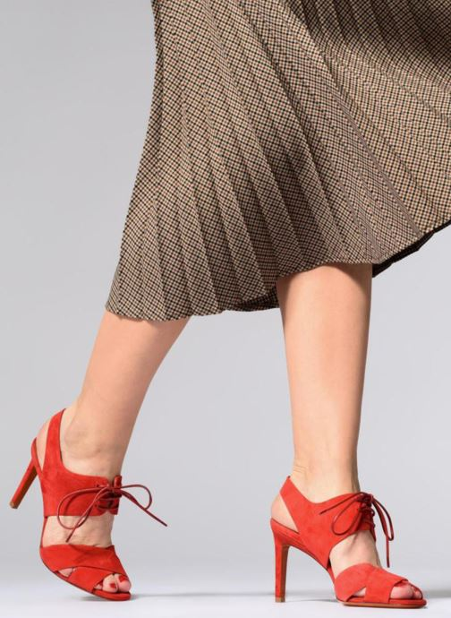 Sandals Santoni Emi 85 Red view from underneath / model view