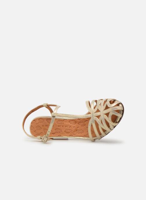 Zapatos de tacón Chie Mihara Ku-Quenu Oro y bronce vista lateral izquierda