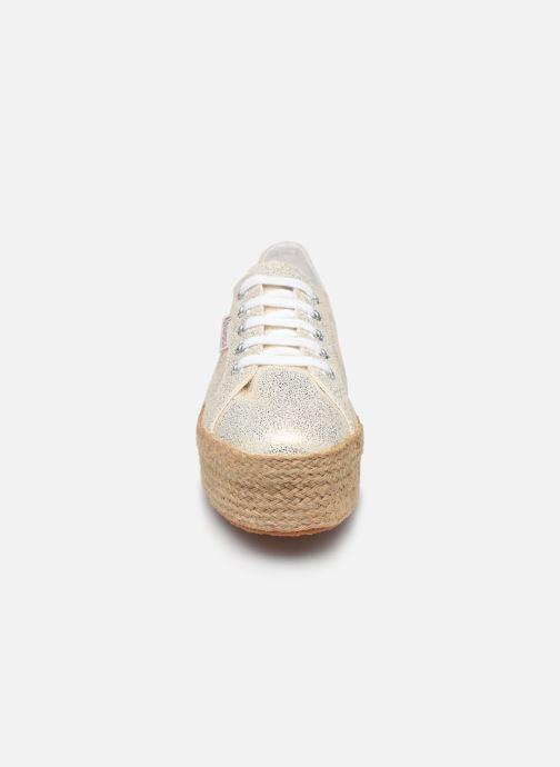 Sneakers Superga 2790 Jersey Frost Lame W Oro e bronzo modello indossato