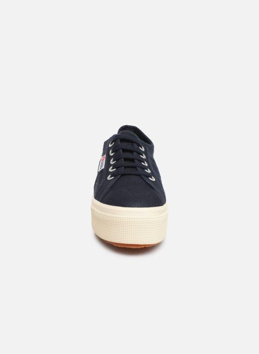 Baskets Superga 2790 Cot Plato Linea C W Bleu vue portées chaussures