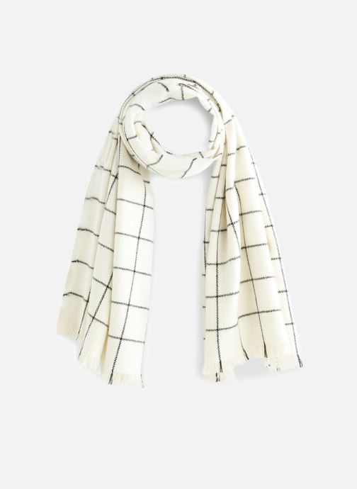 Echarpes et Foulards Monoprix Femme ECHARPE ACRYLIQUE CARREAUX Blanc vue détail/paire