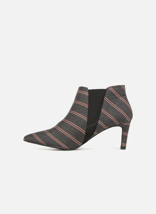 Ankle boots Monoprix Femme BOOTS RAYEE POINTUE Grey front view